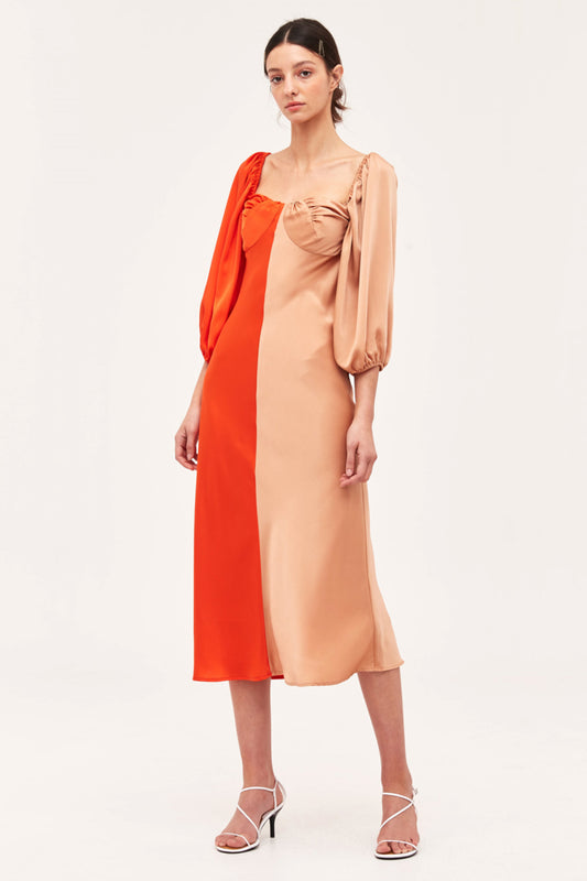 THOUGHTFUL DRESS vermilion w tan