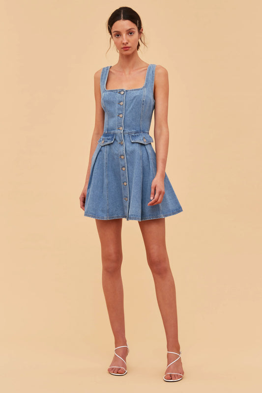 PERIPHERAL DRESS blue denim