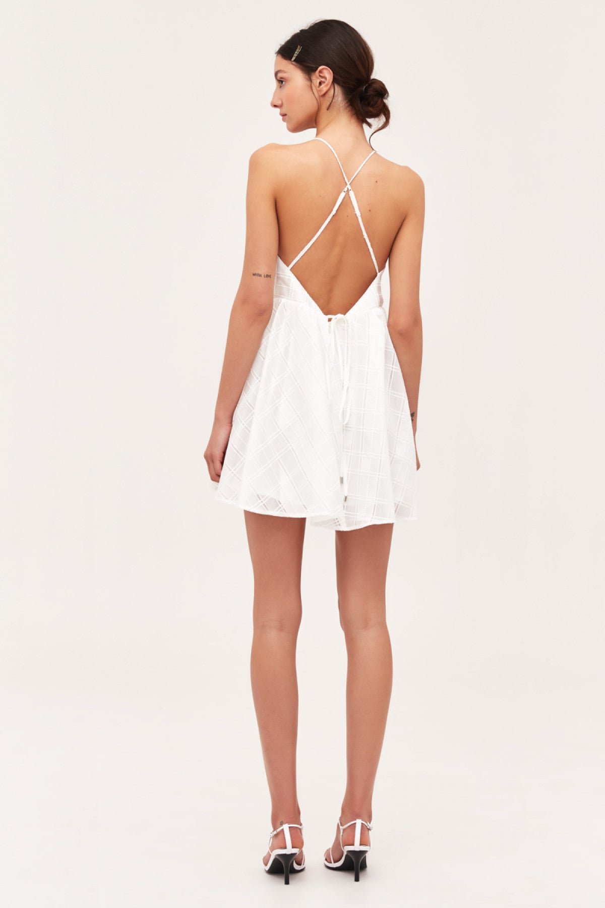 SAME THINGS MINI DRESS ivory check