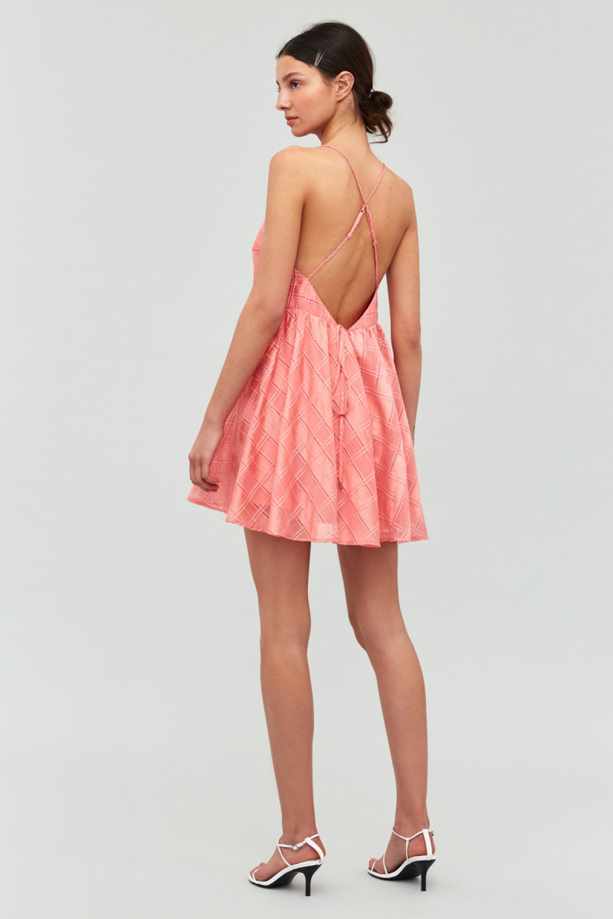 SAME THINGS MINI DRESS coral check