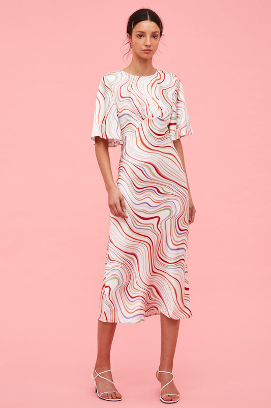 MY WAY SHORT SLEEVE DRESS ivory rainbow