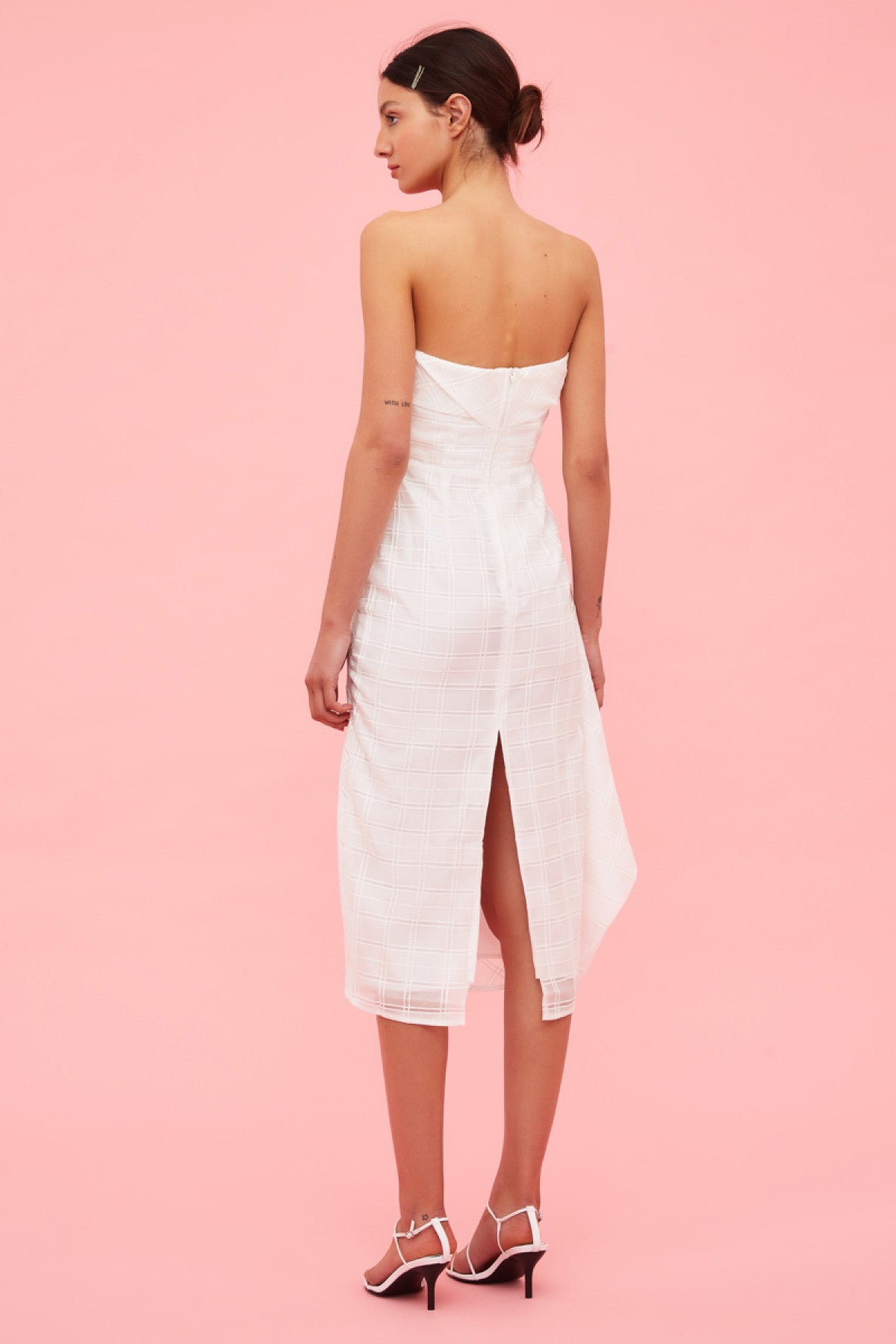 SAME THINGS MIDI DRESS ivory check