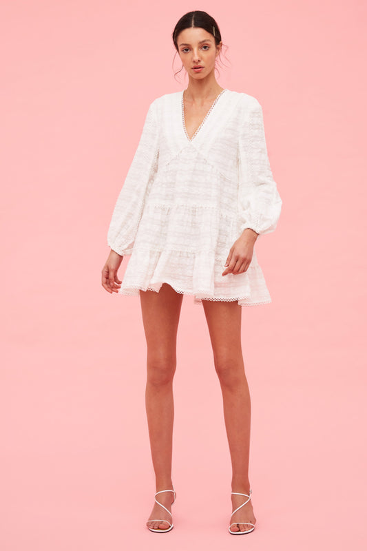 LIE AWAKE LONG SLEEVE DRESS ivory