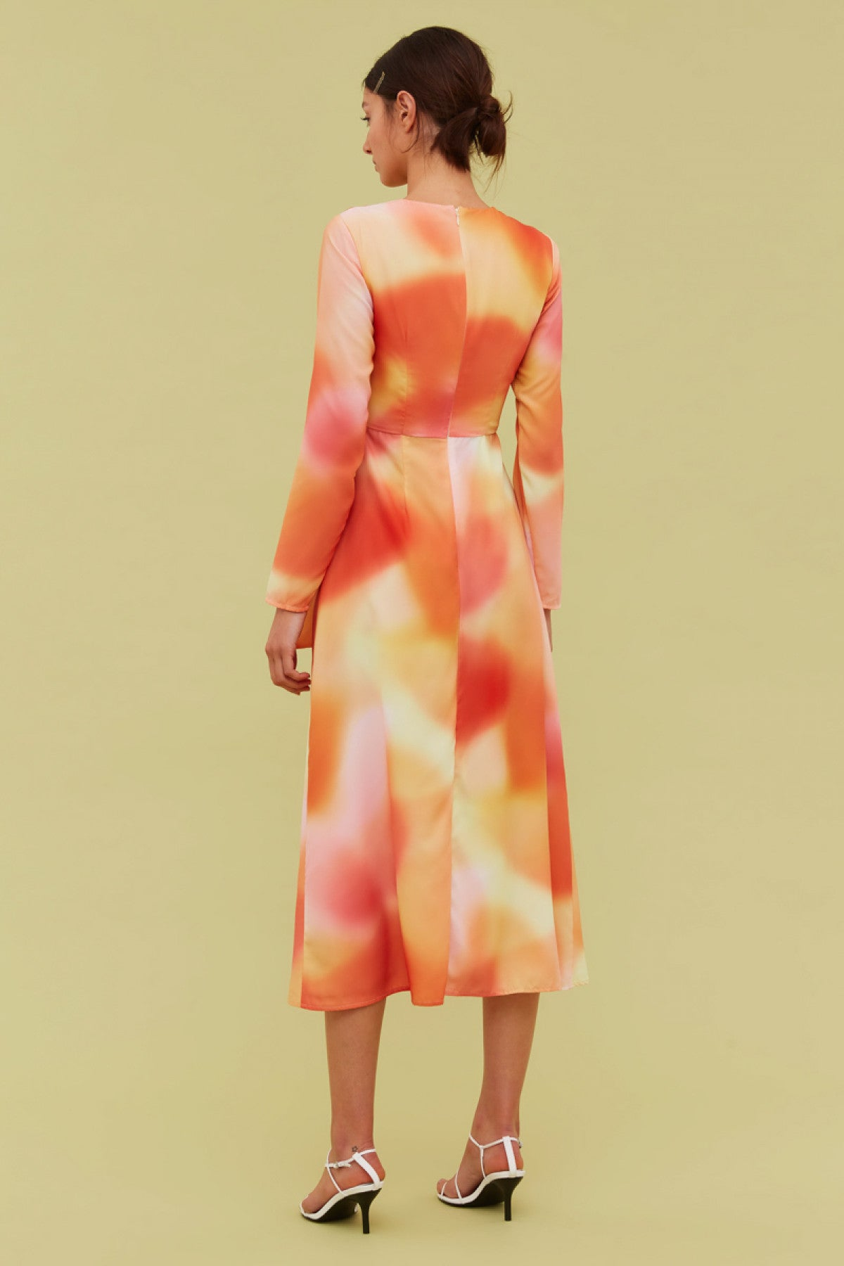 BLINDFOLD LONG SLEEVE DRESS vermilion ombre