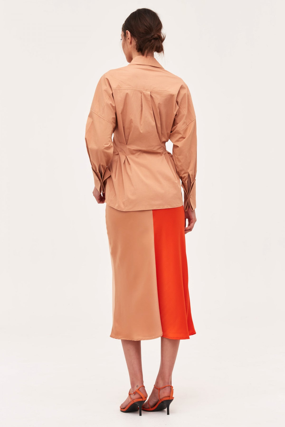 THOUGHTFUL SKIRT vermilion w tan