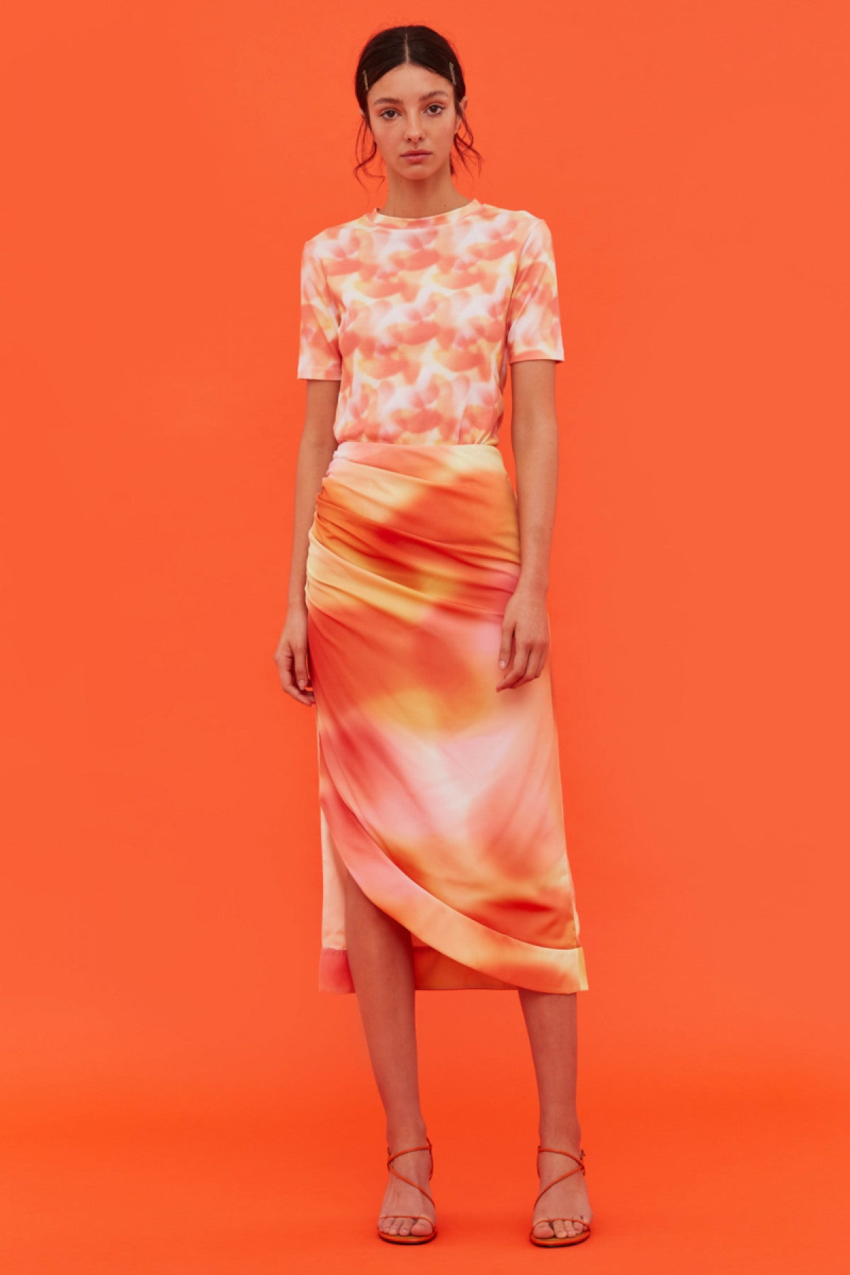 BLINDFOLD SKIRT vermilion ombre