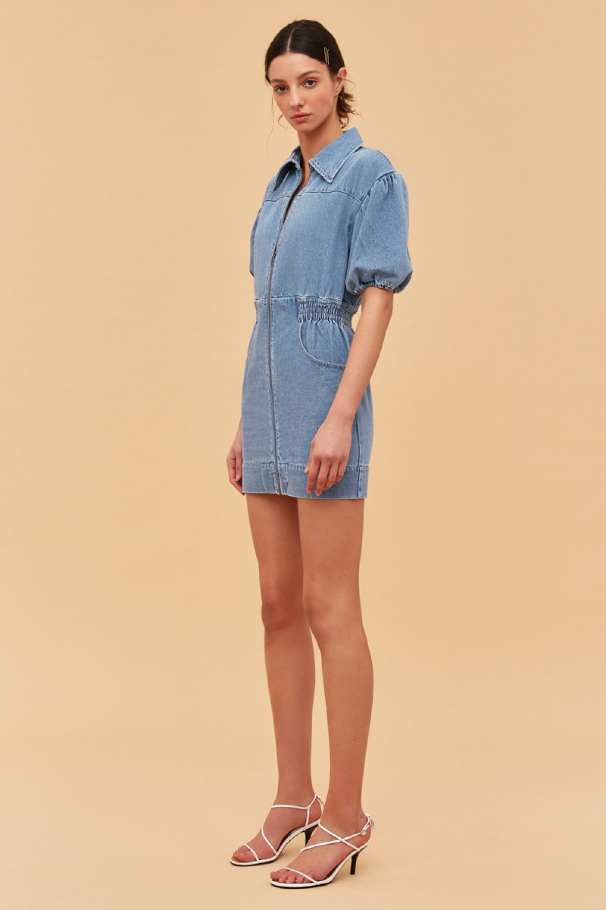 PERIPHERAL SHORT SLEEVE DRESS blue denim