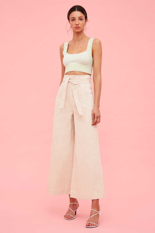 PERIPHERAL WIDE LEG JEAN chalk