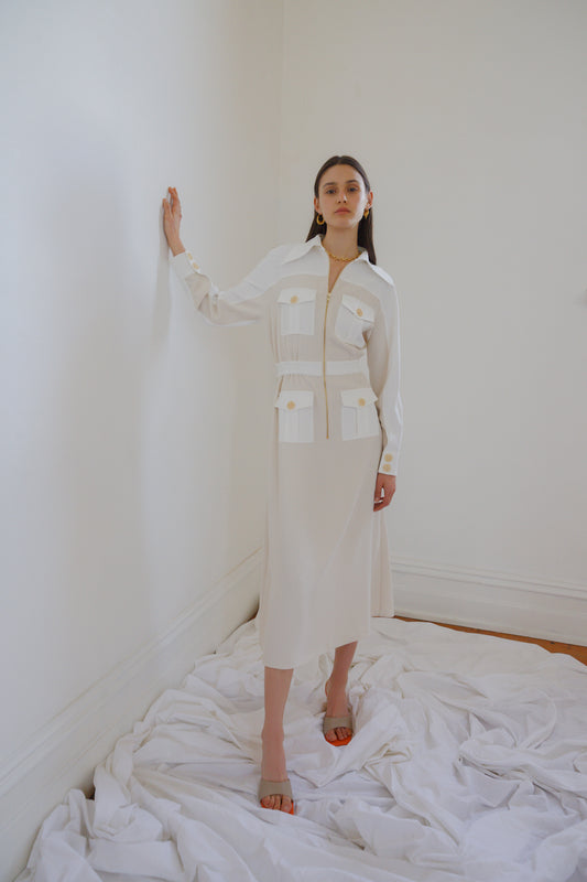Immense Midi Dress Ecru w Ivory