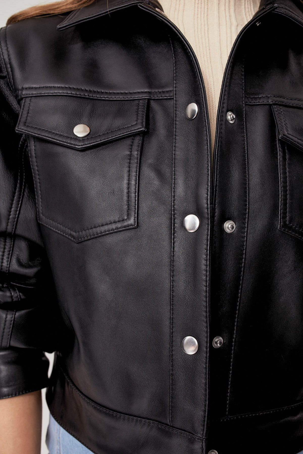 ESSENTIALS LEATHER JACKET black