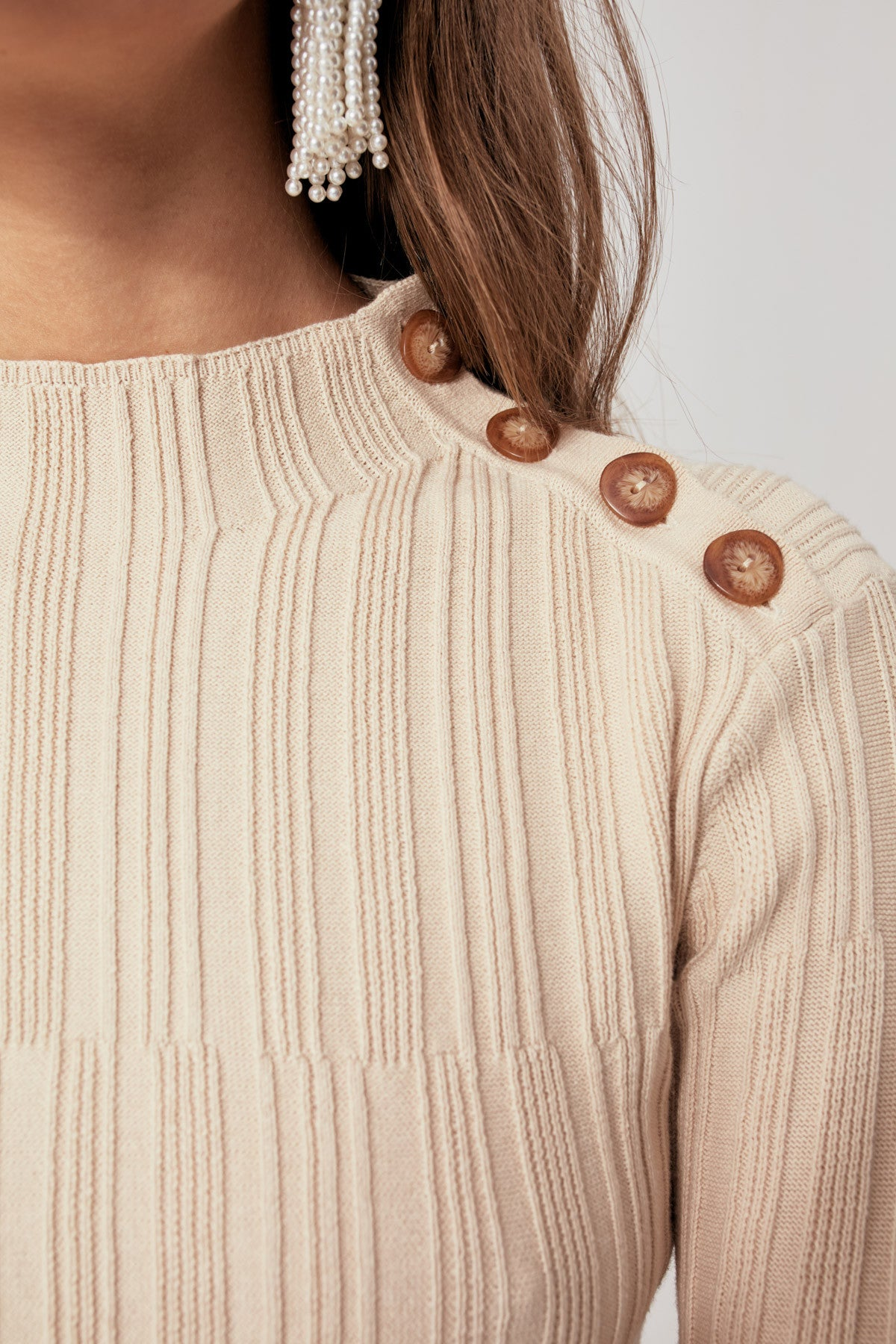 FALSE ALARM LONG SLEEVE KNIT TOP toffee