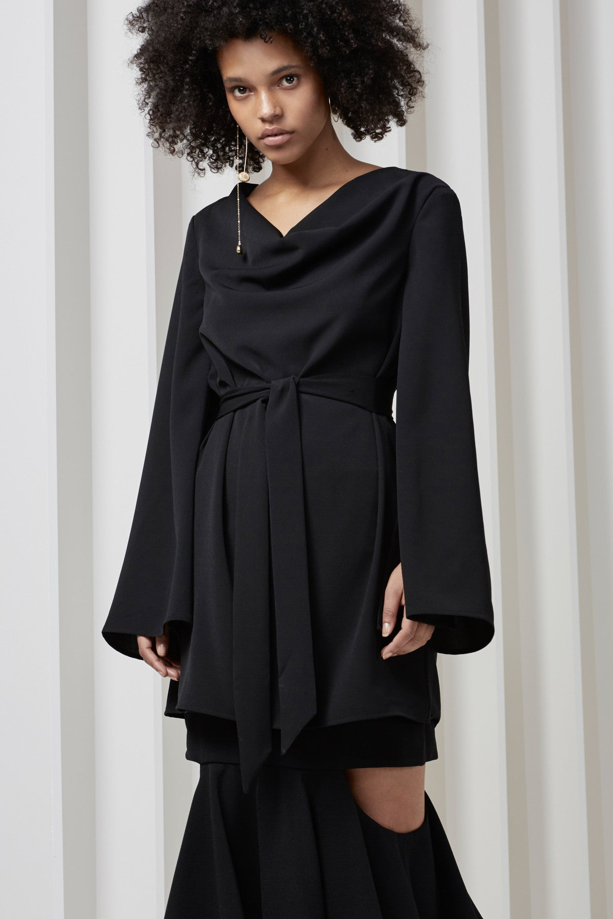 INTERRUPT LONG SLEEVE DRESS black