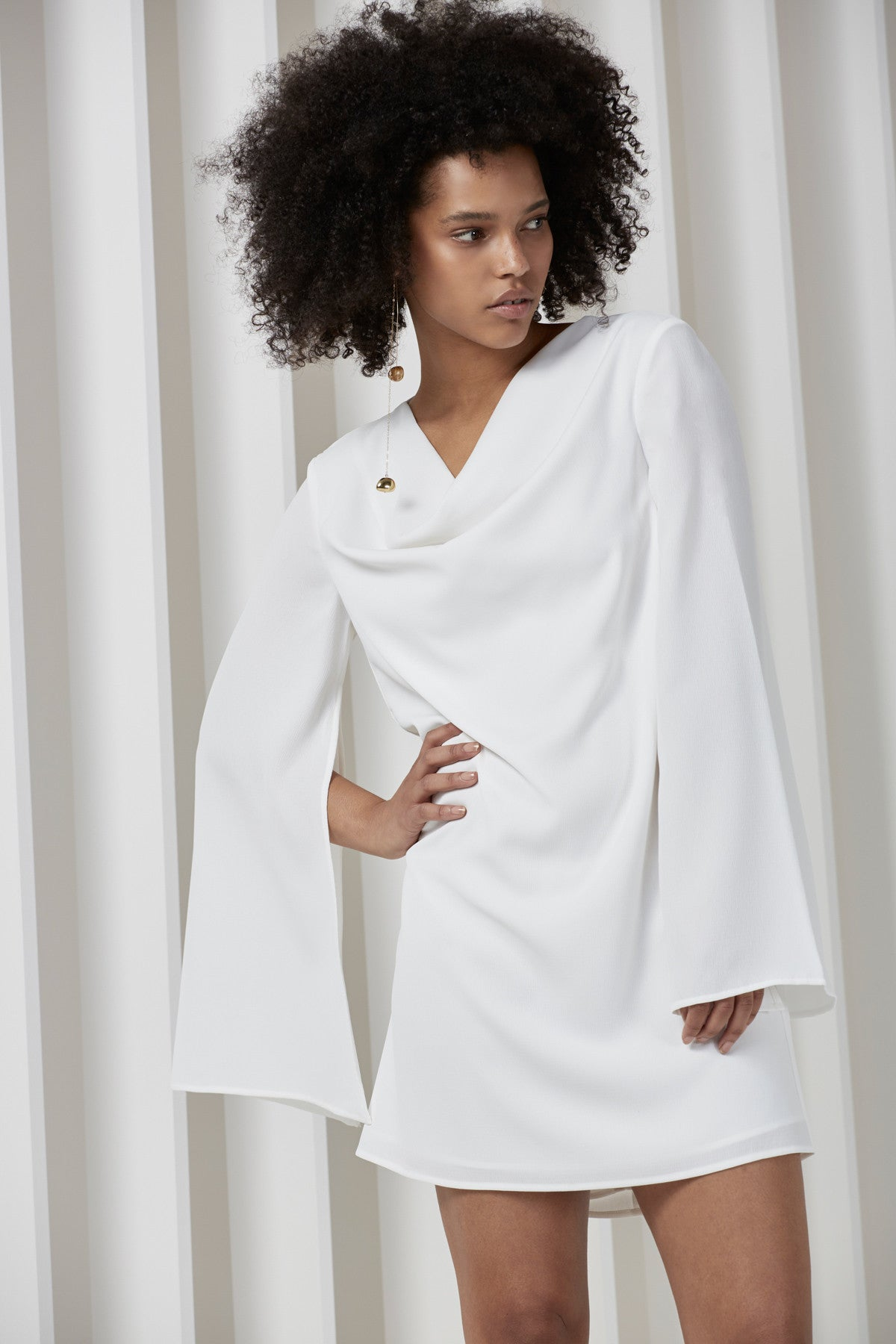 INTERRUPT LONG SLEEVE DRESS ivory