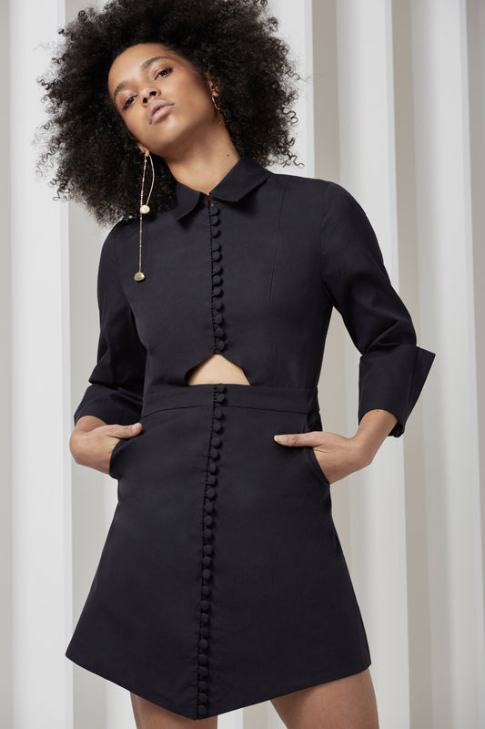 LET IT GO LONG SLEEVE SHIRTING DRESS black