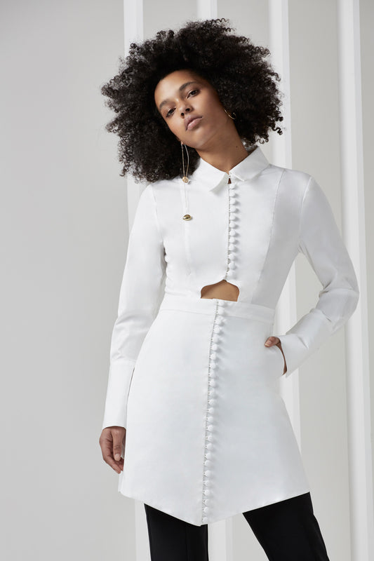 LET IT GO LONG SLEEVE SHIRTING DRESS white
