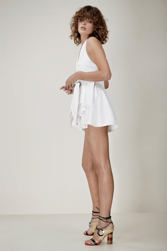 CONQUER SHIRTING PLAYSUIT white