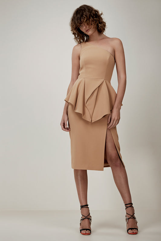 FLAWLESS MIDI DRESS tan