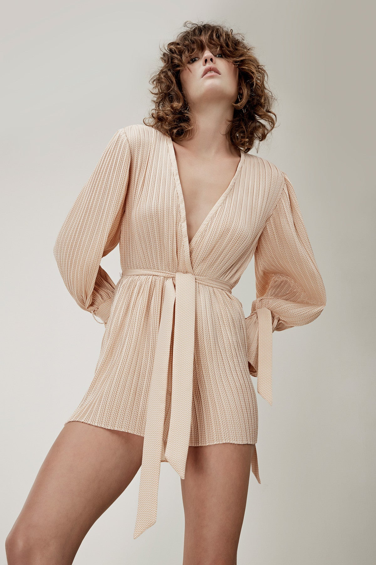 UNSTOPPABLE LONG SLEEVE PLAYSUIT tan link
