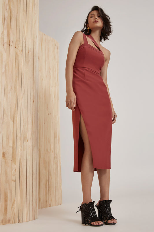 BOUND TOGETHER DRESS marsala