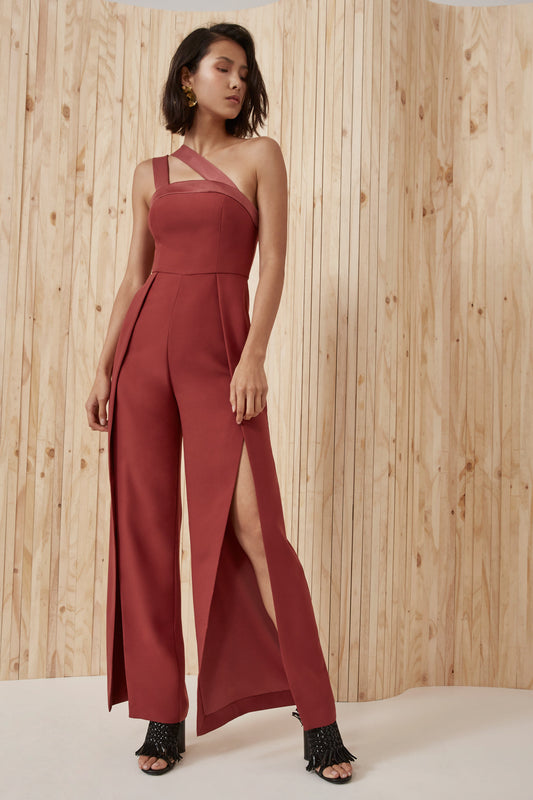 BOUND TOGETHER JUMPSUIT marsala