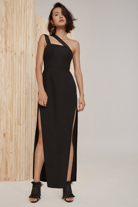 BOUND TOGETHER FULL LENGTH DRESS black