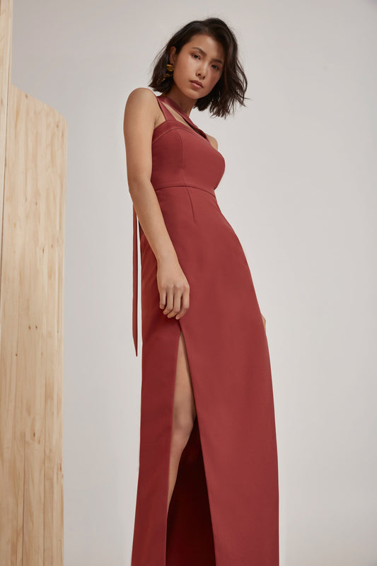 BOUND TOGETHER FULL LENGTH DRESS marsala
