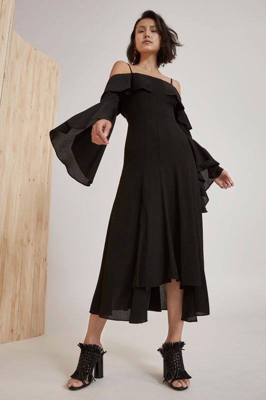 COMPOSE MIDI DRESS black