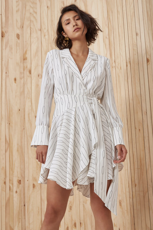 EVERLASTING LONG SLEEVE DRESS ivory chain print