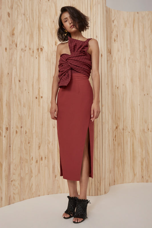 BOUND TOGETHER SKIRT marsala