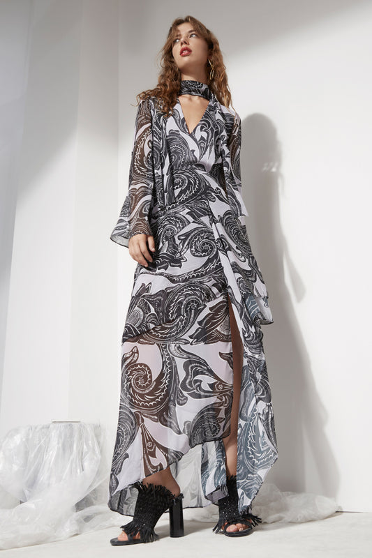 AUTONOMY LONG SLEEVE FULL LENGTH DRESS black andorra