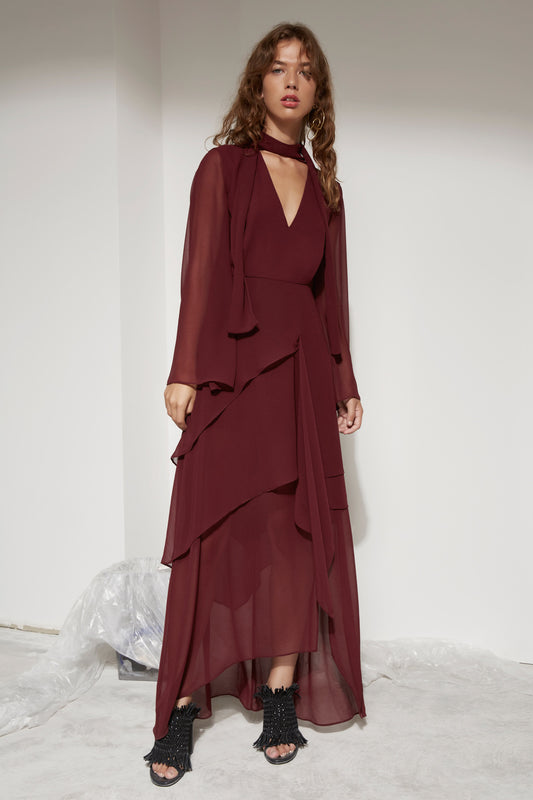 AUTONOMY LONG SLEEVE FULL LENGTH DRESS mahogany