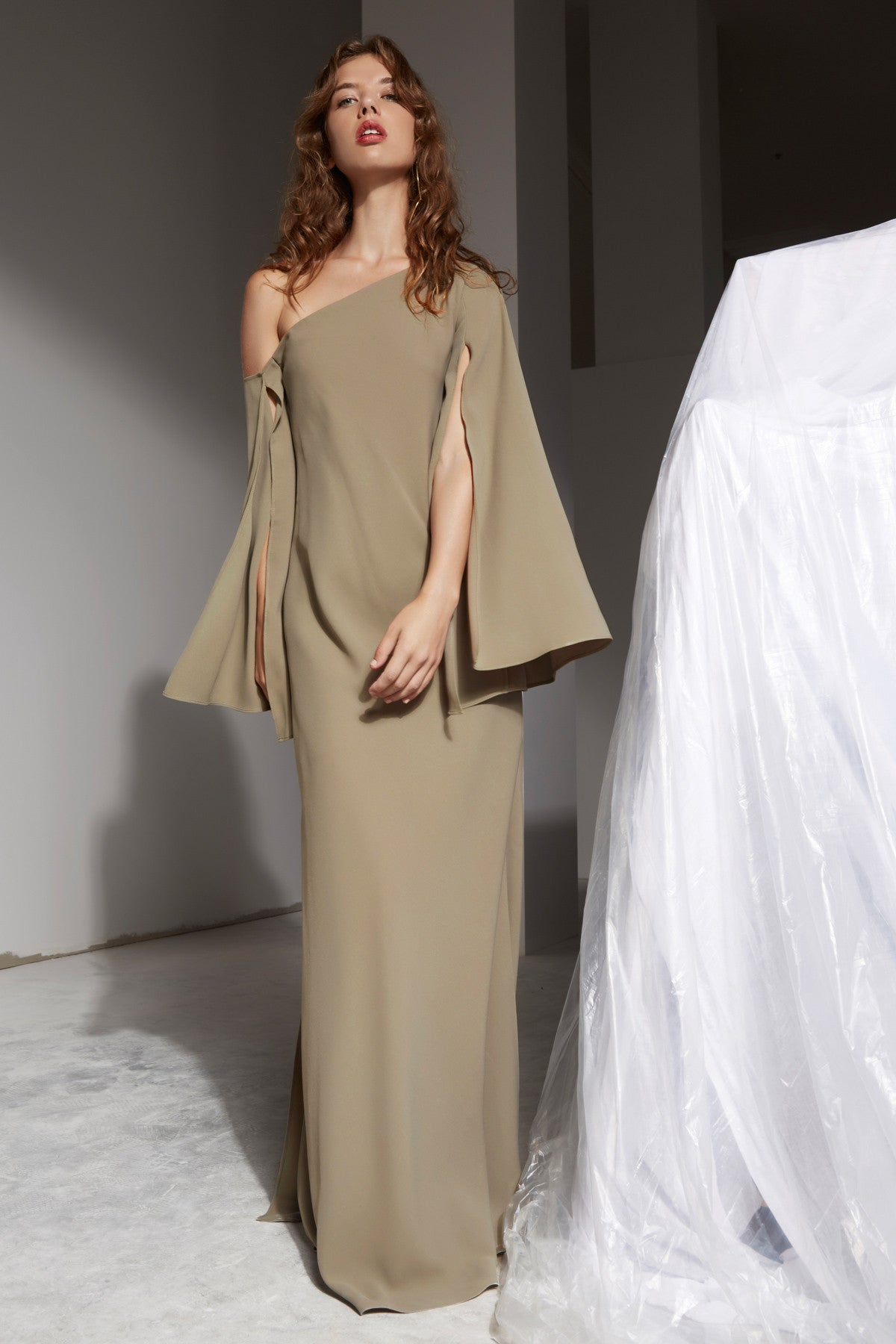 BEYOND ME FULL LENGTH DRESS khaki