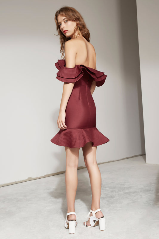 EXTANT BUSTIER DRESS mahogany
