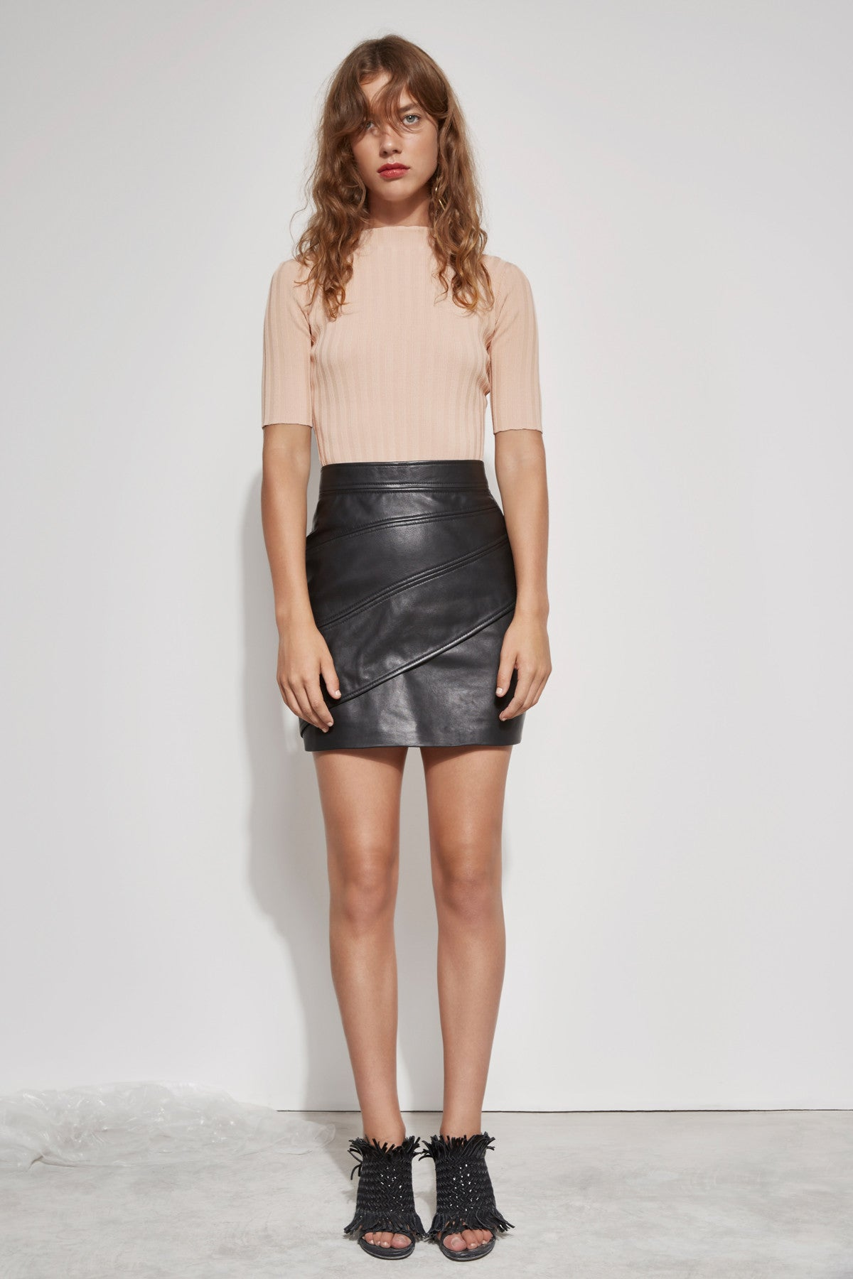 LESSON LEARNT LEATHER SKIRT black