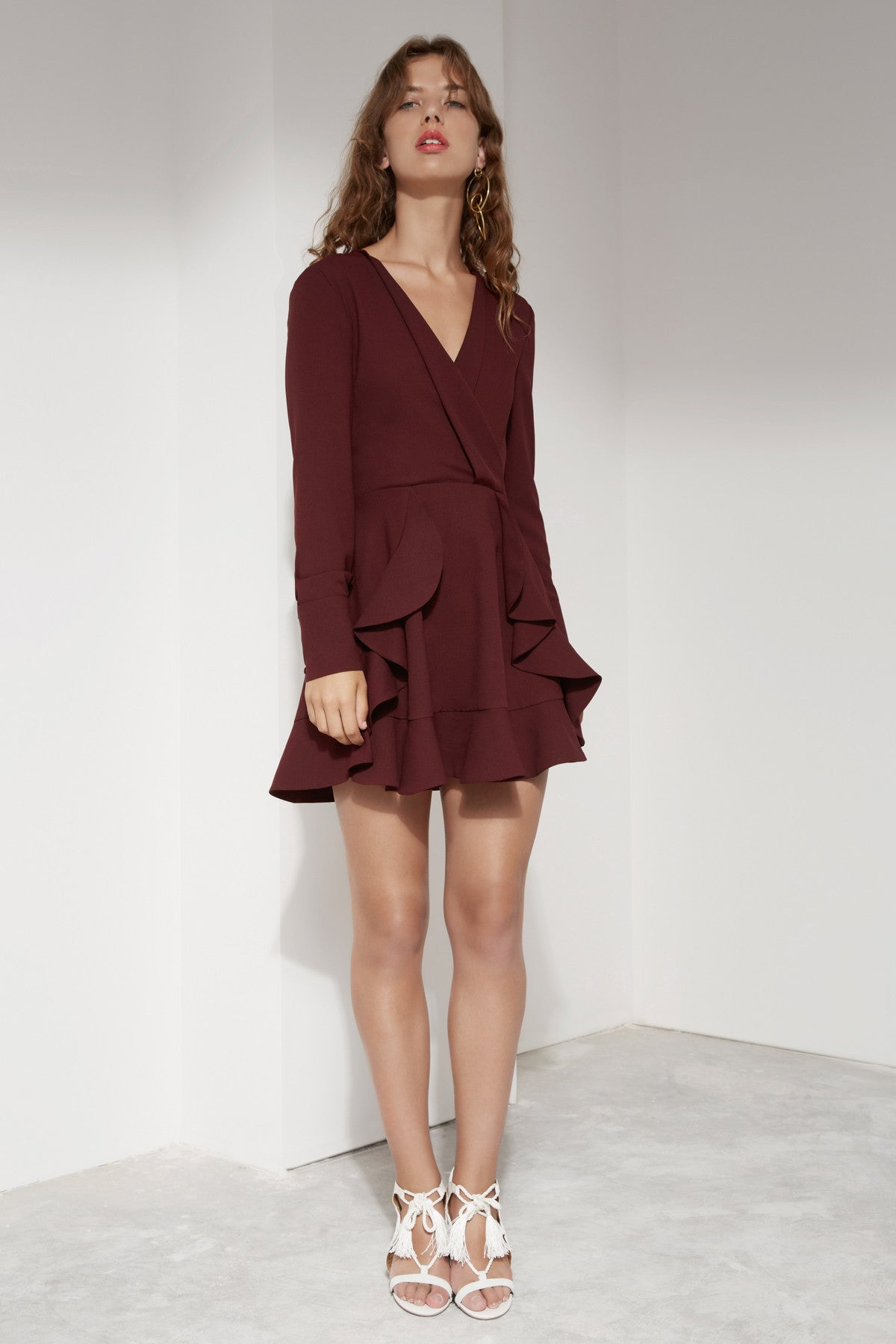 ULTRALIGHT LONG SLEEVE DRESS mahogany