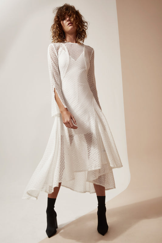 ASPIRE LONG SLEEVE DRESS ivory