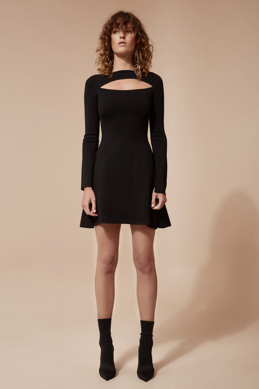 ELISION KNIT DRESS black