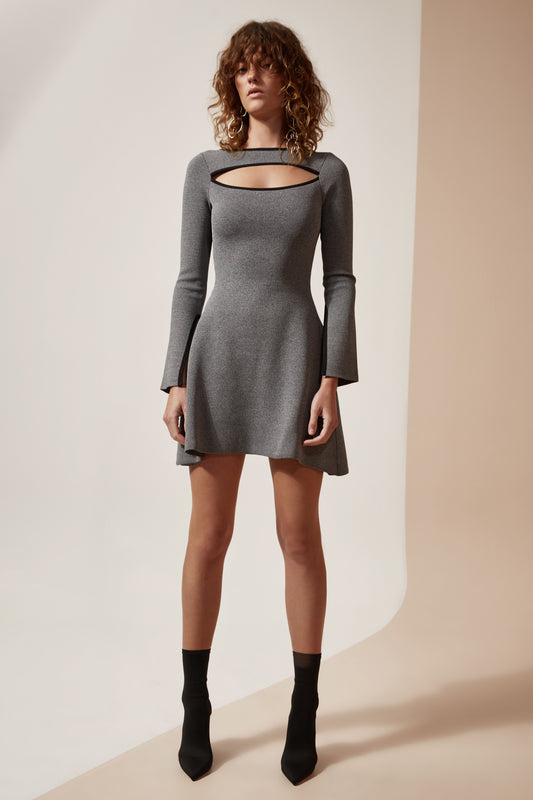 ELISION KNIT DRESS grey marle