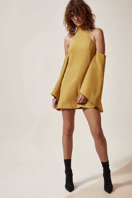 FUSION LONG SLEEVE DRESS chartreuse