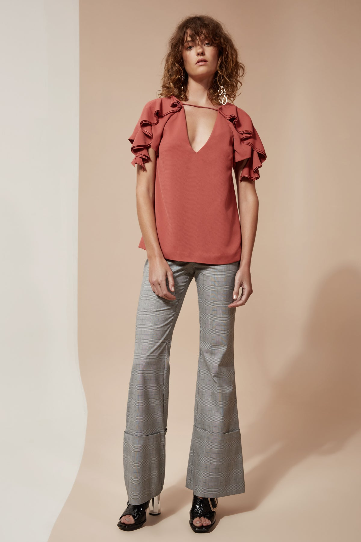 GOSSAMER SHORT SLEEVE TOP rosewood