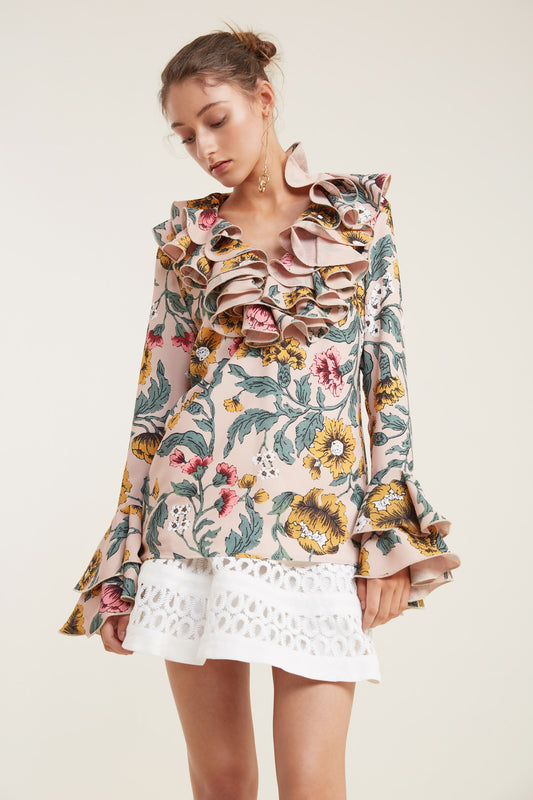 IMMERSE LONG SLEEVE TOP blush floral