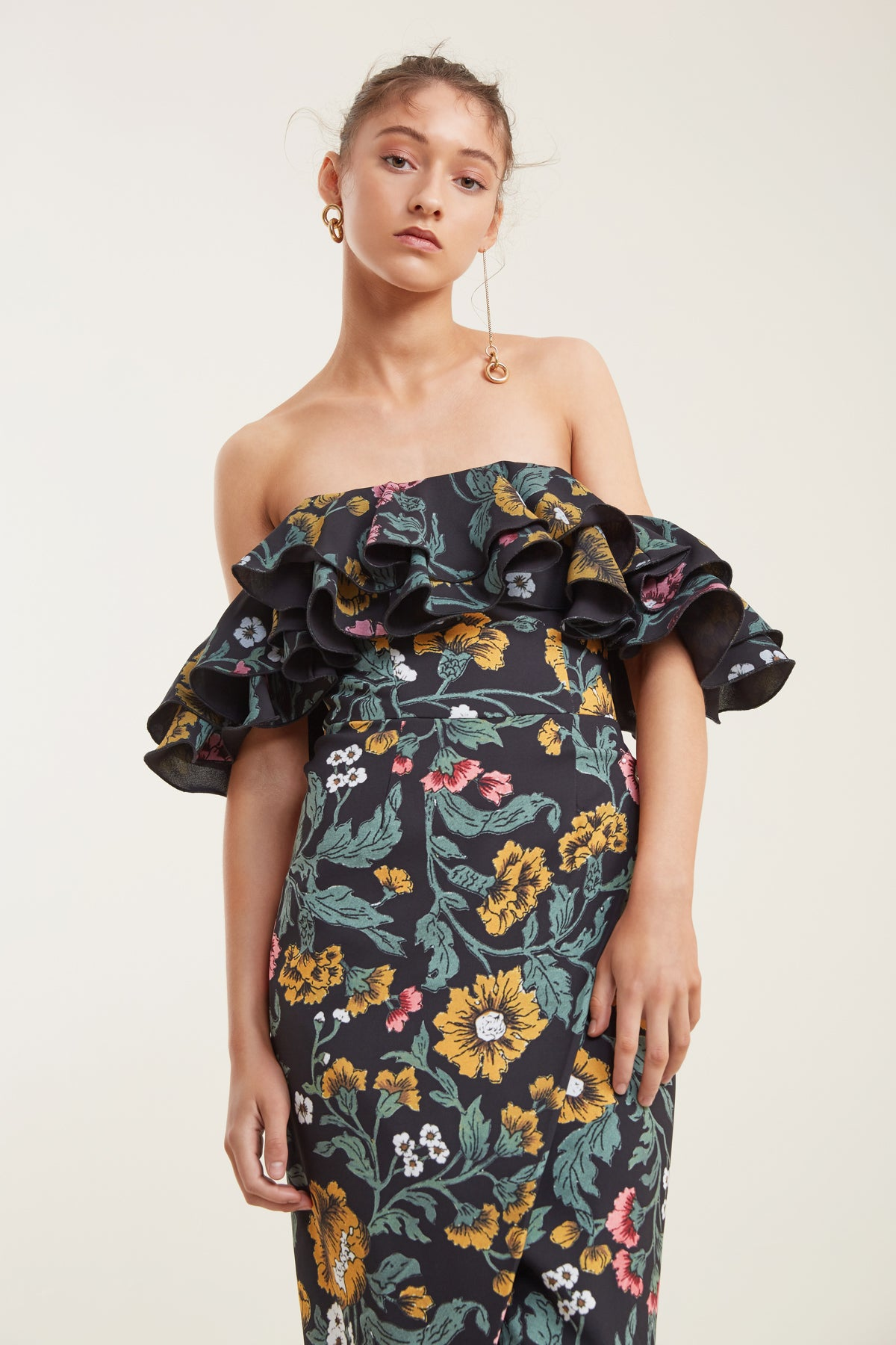 IMMERSE MIDI DRESS black floral