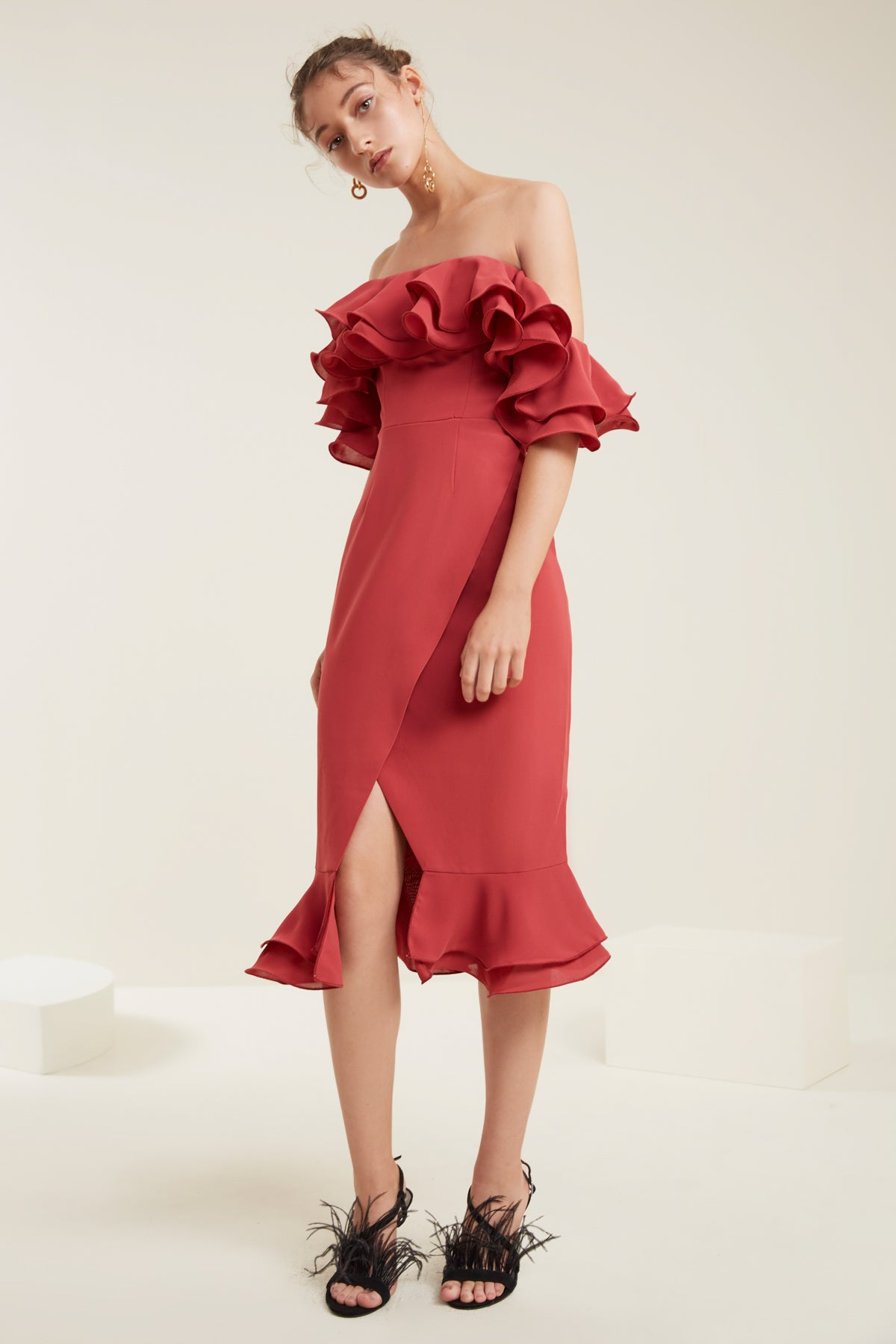 IMMERSE MIDI DRESS rose