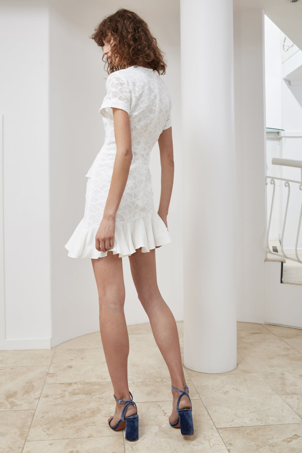 PHASE SHORT SLEEVE DRESS ivory