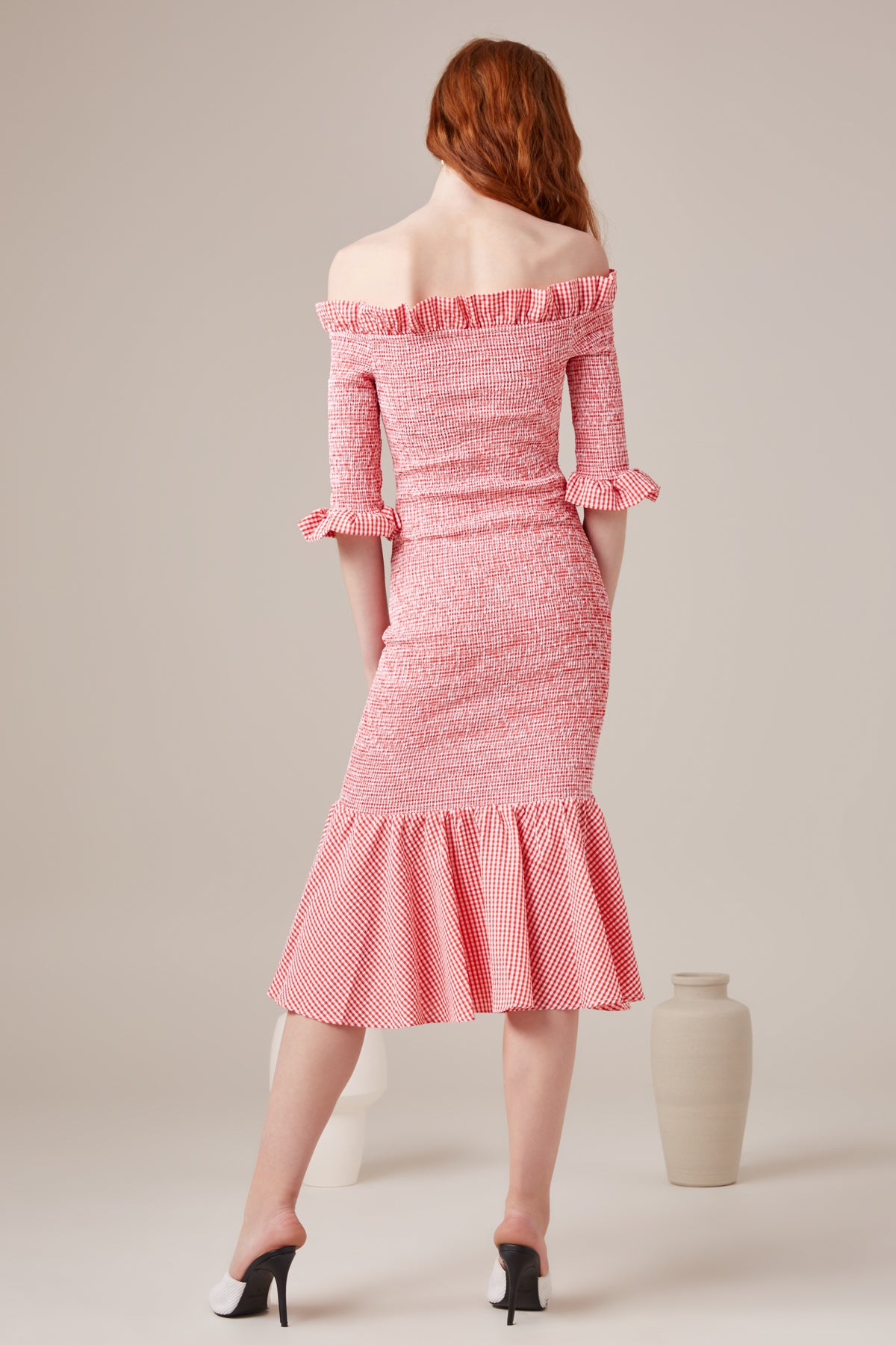BEST LOVE MIDI DRESS melon check