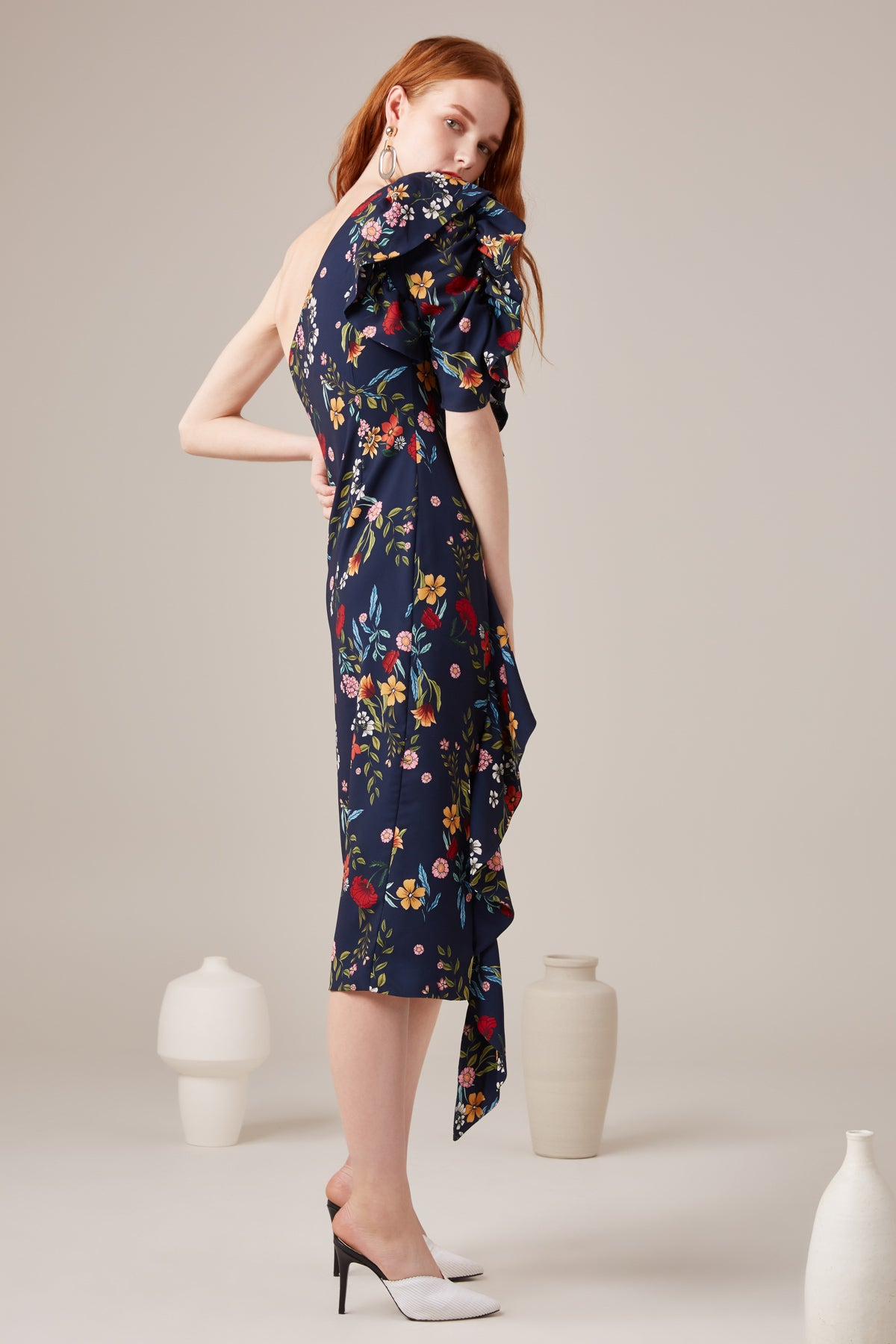 ENTITLE MIDI DRESS navy floral