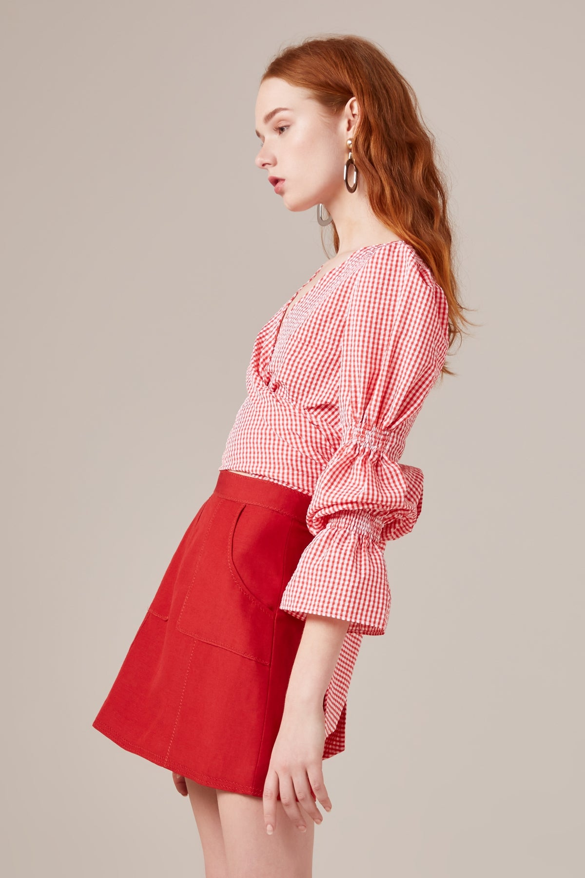 BEST LOVE LONG SLEEVE TOP melon check