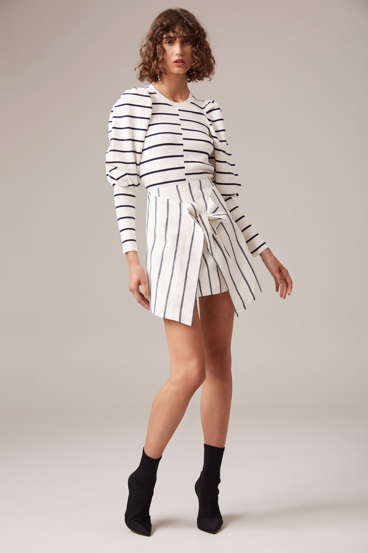 DIFFUSE SKIRT ivory stripe