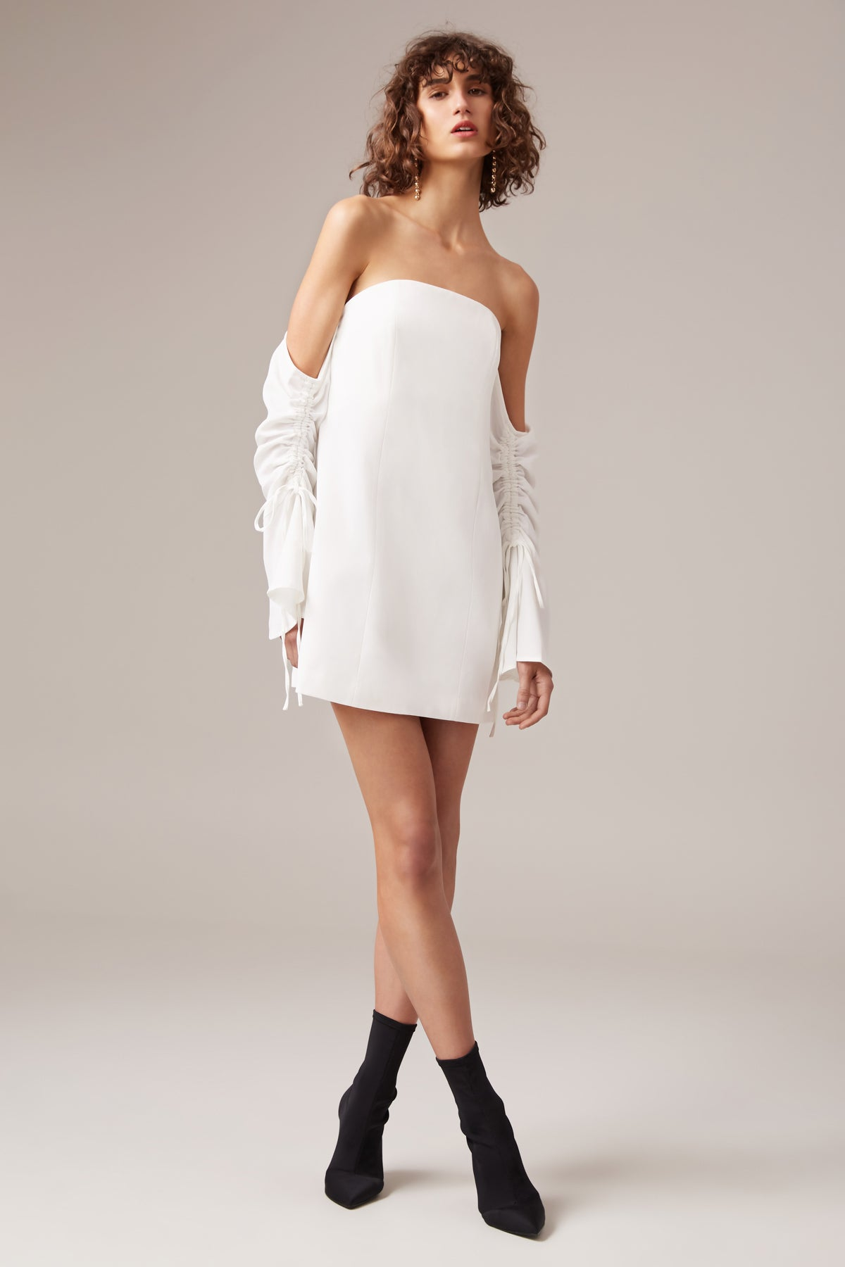 OUTLINE LONG SLEEVE DRESS ivory