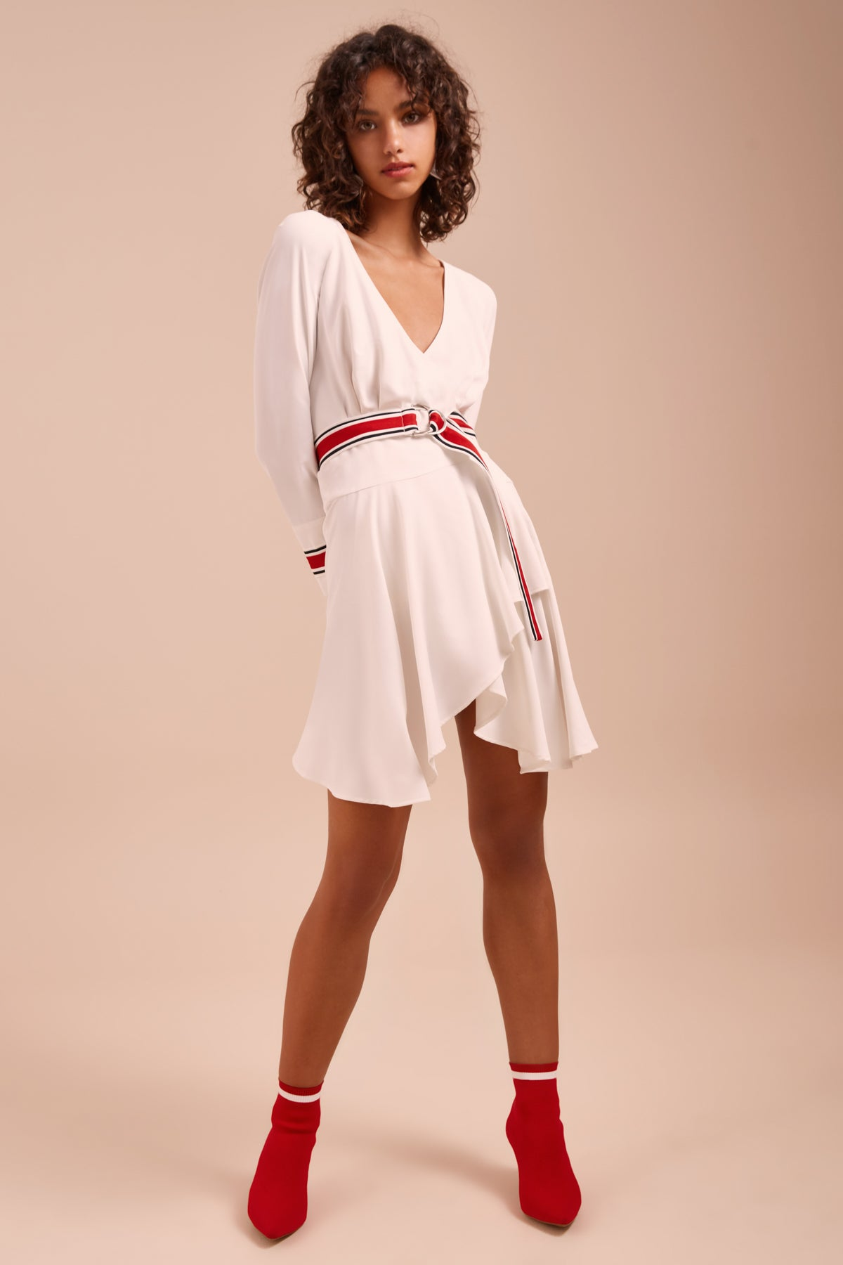 BE MOVED LONG SLEEVE DRESS ivory